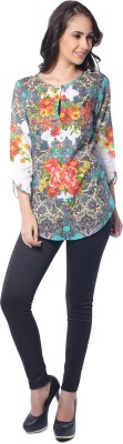 Florriefusion Casual 3/4 Sleeve Floral Print Women's Green Top