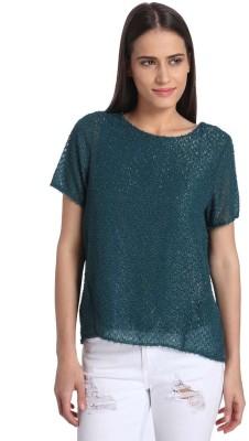 Vero Moda Casual Short Sleeve Solid Women's Light Blue Top