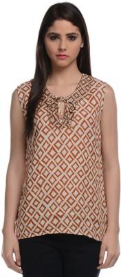 Hapuka Casual Sleeveless Printed Women's Brown Top