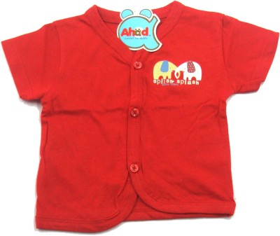 Ahad Casual Short Sleeve Solid Baby Girl's Red Top