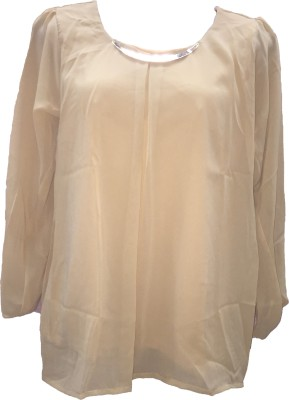 Dovekie Casual, Festive, Party Full Sleeve Solid Women's Beige Top