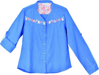 Caca Cina Casual Roll-up Sleeve Embroidered Girl,s Blue Top