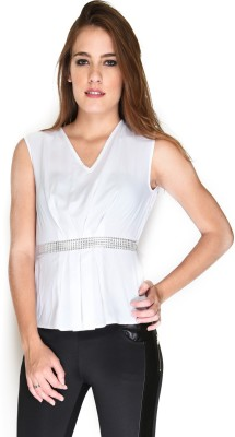Hermosear Casual Sleeveless Solid Women's White Top