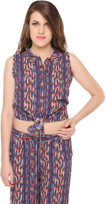 Lemon Chillo Casual Sleeveless Striped Women's Multicolor Top
