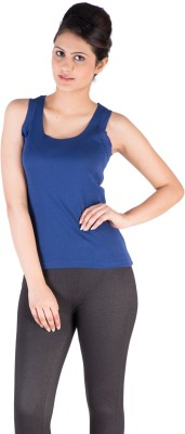 De Moza Casual Sleeveless Solid Women's Blue Top