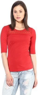 The Vanca Casual Short Sleeve Solid Women's Red Top at flipkart