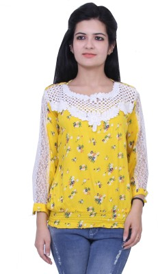 Paris Plush Casual 3/4 Sleeve Floral Print Women's Yellow Top