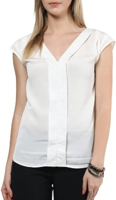 Indicot Casual Short Sleeve Solid Women's White Top