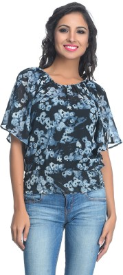 Rare Party Short Sleeve Floral Print Women's Blue Top