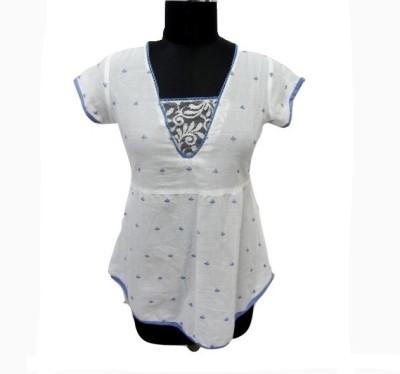 Eleganceranuka Casual Cap sleeve Floral Print Women's White Top