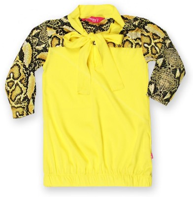 Dreamszone Casual 3/4 Sleeve Printed Girl,s Black, Yellow Top