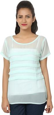 Aussehen Casual Short Sleeve Solid Women's Light Blue Top