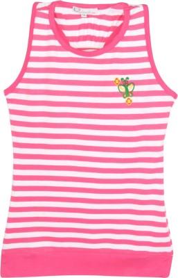 Eimoie Casual Sleeveless Striped Girl's Pink, White Top