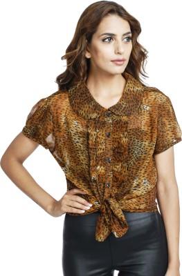 Urban Rust Casual Short Sleeve Animal Print Women's Black, Brown Top