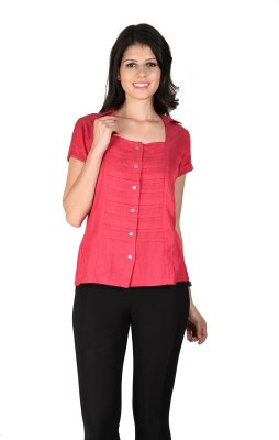 Latin Quarters Casual Short Sleeve Solid Women,s Pink Top