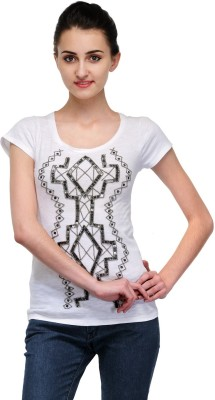 Butterfly Wears Casual Short Sleeve Printed Women's White Top