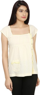 India Inc Casual Short Sleeve Solid Women's Yellow Top