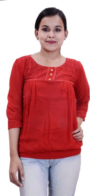 Krazzy Collection Casual 3/4 Sleeve Solid Women,s Red Top