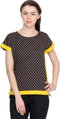Golden Couture Casual Kimono Sleeve Polka Print Women's Multicolor Top