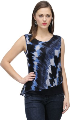 ColorsCo Party Sleeveless Printed Women's Dark Blue Top
