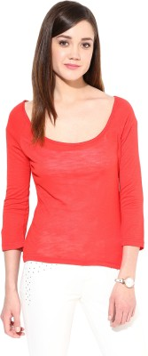Trend18 Casual 3/4 Sleeve Solid Women's Red Top