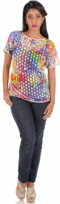 R Factor Casual Short Sleeve Floral Print Women's Multicolor Top
