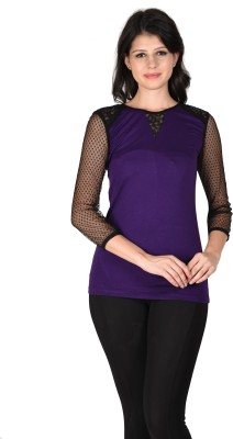 Latin Quarters Formal Full Sleeve Solid Women,s Purple Top