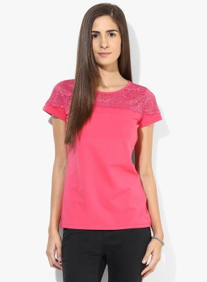 T-shirt Company Casual Short Sleeve Solid Women's Pink Top