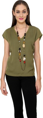 Rena Love Casual Short Sleeve Solid Women's Green Top