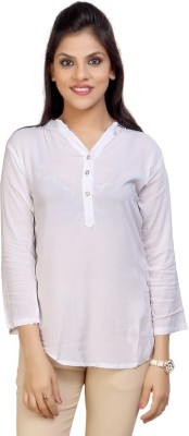 Carrel Casual 3/4 Sleeve Solid Women's White Top