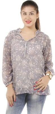 Lady Stark Casual Full Sleeve Floral Print Women's Grey Top