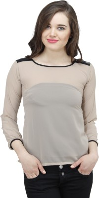 Osumfab Casual Full Sleeve Solid Women's Beige Top