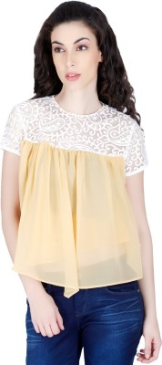 LAWMAN Casual Short Sleeve Printed Women's Beige Top