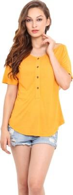 Instacrush Casual Short Sleeve Solid Women,s Orange Top