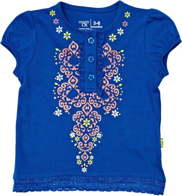 Mom & Me Casual Short Sleeve Printed Baby Girl's Blue Top