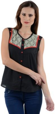 Visach Women's Printed Casual Black Shirt