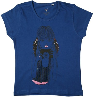 Allen Solly Casual Short Sleeve Printed Girl's Blue Top