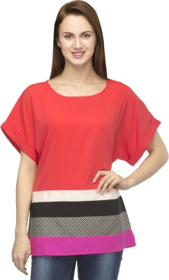 Primo Knot Casual Short Sleeve Solid Women's Pink Top