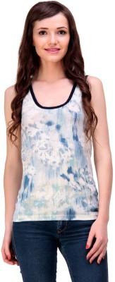 Ebry Casual Sleeveless Printed Women's Blue Top