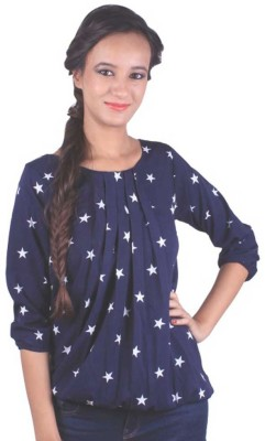 Aayushi Collection Casual 3/4 Sleeve Printed Girl's Blue Top