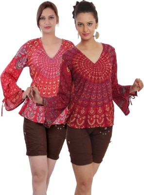 Indi Bargain Casual, Party, Formal, Sports Full Sleeve Printed, Floral Print Women's Red, Maroon Top