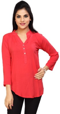 Carrel Casual 3/4 Sleeve Solid Women's Red Top