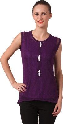 London Off Casual Sleeveless Solid Women's Purple Top