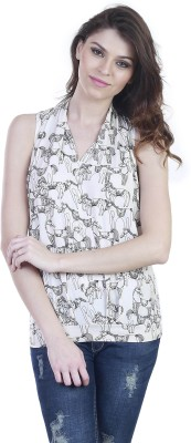 Showoff Casual Sleeveless Printed Women's Beige Top