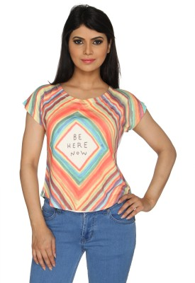 Nuts Clothing Party Short Sleeve Graphic Print Women,s Multicolor Top