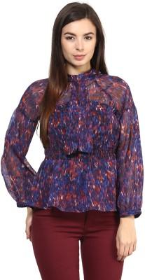 Rare Casual Full Sleeve Printed Women,s Blue Top