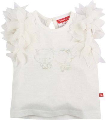Fisher-Price Casual Sleeveless Printed Girl's White Top
