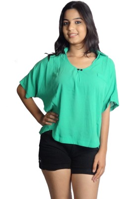 Oomph Factor Casual, Party Short Sleeve Solid Women's Green Top