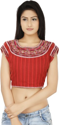 Clo Clu Casual Sleeveless Embroidered Women,s Red, White Top