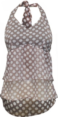 Attuendo Party Sleeveless Polka Print Women's Brown, White Top